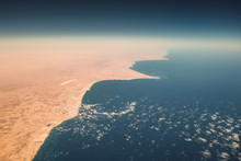 Aerial View Of Mediterranean Coast Of Egypt Where Sahara Meets The Sea
