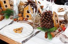 Christmas Table Setting. Holiday Decoration