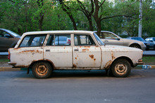 Old Rusty Retro Car Moskvich In The Parking Lot