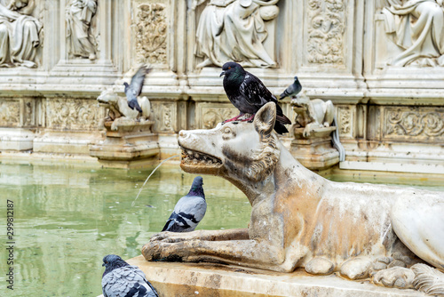 Siena Detail Fonte Gaia in piazza del campo Tablou Canvas