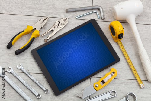 Poster Fleur Household tools and tablet with grid screen concept