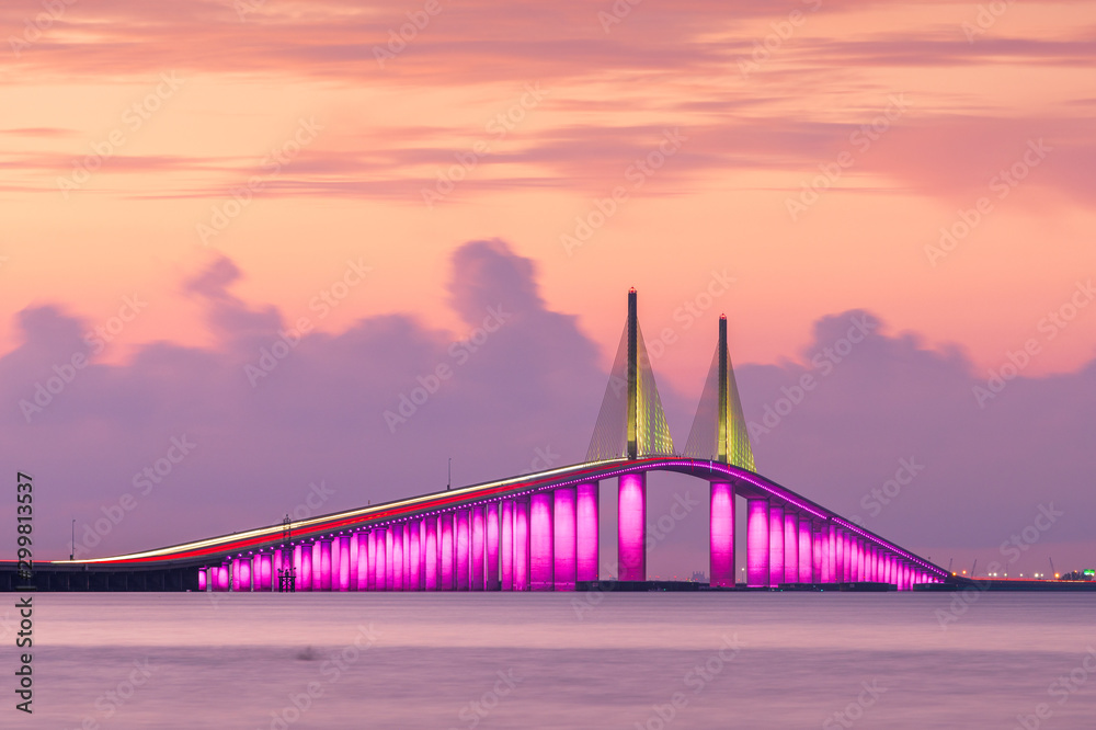 Fototapety, obrazy: Sunshine Skyway Bridge spanning the Lower Tampa Bay