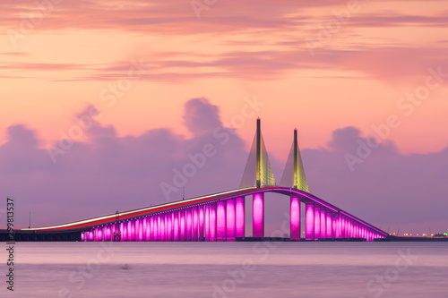 Sunshine Skyway Bridge spanning the Lower Tampa Bay - 299813537