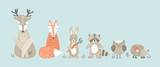 Fototapeta Fototapety na ścianę do pokoju dziecięcego - Set of cute cartoon woodland animals in scandinavian style. Funny characters on blue background. Flat vector illustration.