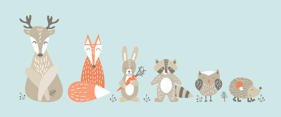 Set of cute cartoon woodland animals in scandinavian style. Funny characters ...