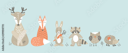 Set of cute cartoon woodland animals in scandinavian style. Funny characters on blue background. Flat vector illustration.