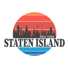 Staten Island. Borough Of New York City. Editable Vector Logo Design.