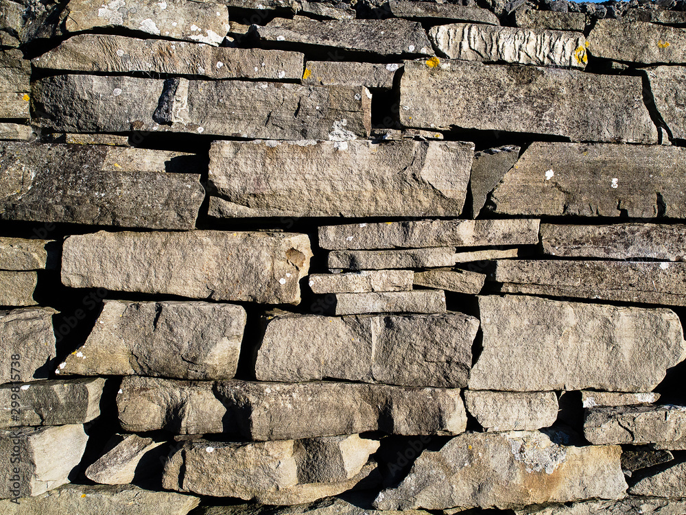 Traditional dray stone wall, Ireland. Background texture.