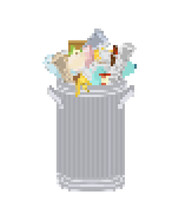 Trash Can Pixel Art. 8 Bit Whe...