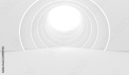 Obraz Abstract Empty White Round Background - 3D Illustration  - fototapety do salonu