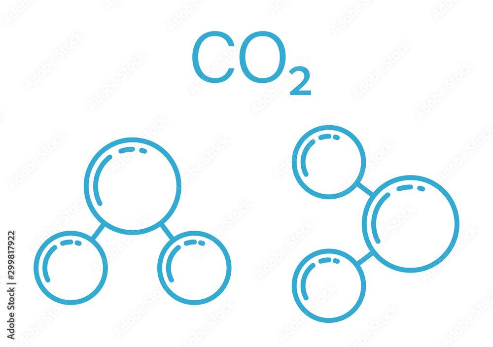Fototapeta Blue carbon dioxide co2 molecular line art icon