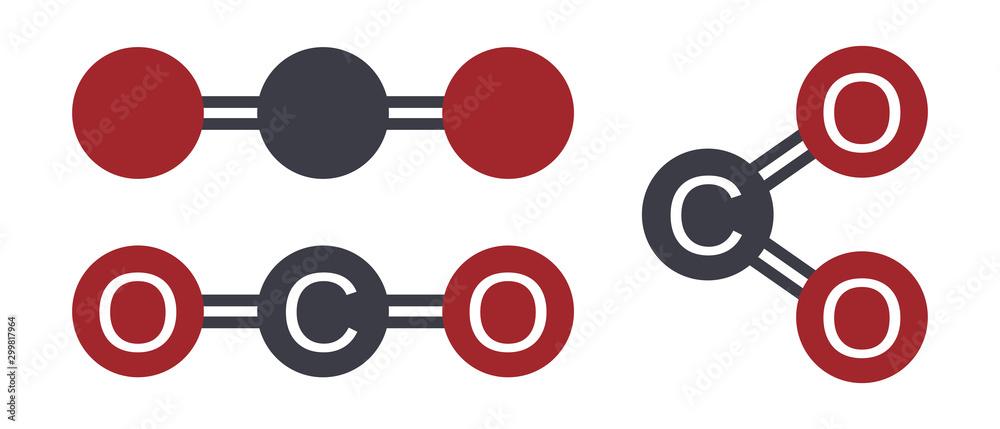 Fototapeta Carbon dioxide co2 molecular atom model vector illustration
