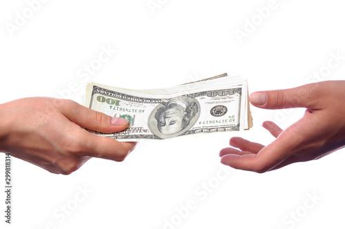 Fototapeta Hands giving money isolated on white background obraz