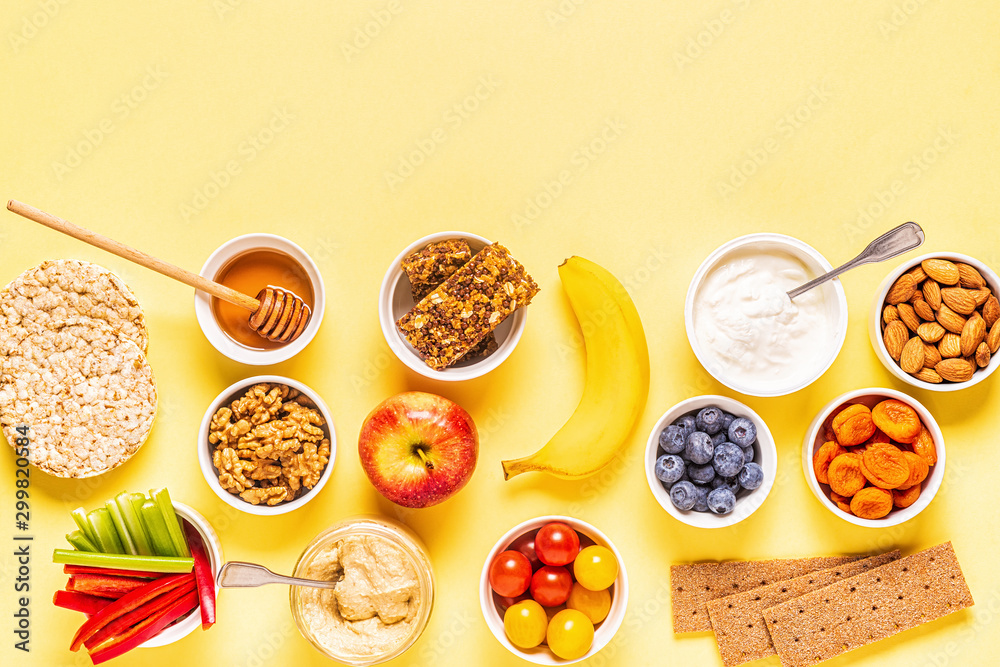 Fototapety, obrazy: Healthy snack concept, top view.