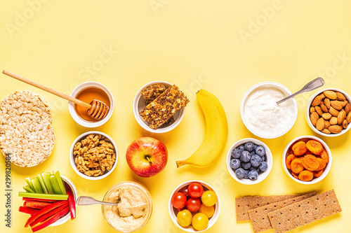 Fotografie, Tablou  Healthy snack concept, top view.