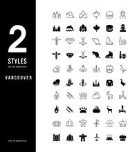 Simple Line Icons Of Vancouver