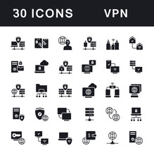 Set Of Simple Icons Of VPN