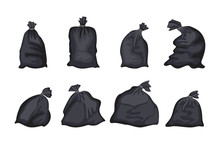 Black Trash Bag Set Isolated O...