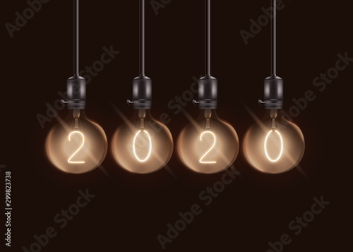 Fotografía  Round electric lamps with number 2020 inside sphere light bulbs