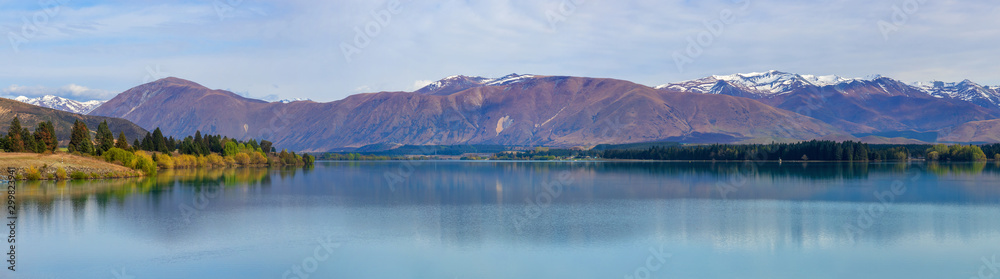 Panorama of Lake Ruataniwha near Twizel, New Zealand