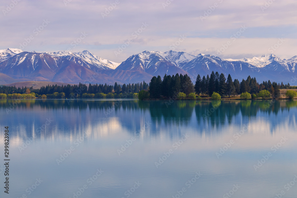 Lake Ruataniwha and Southern Alps, New Zealand