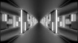 Fototapeta Perspektywa 3d - clean futuristic scifi tunnel corridor with glowing lights and glass windows 3d illustration wallpaper background design