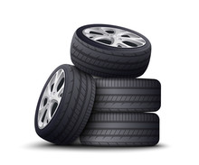 Realistic Car Wheel Pile Isolated On White Background With Black Tires And Metal Rims