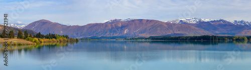 Foto auf Leinwand Landschaft Panorama of Lake Ruataniwha near Twizel, New Zealand