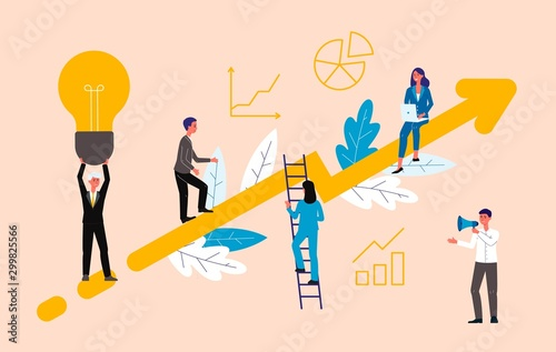 Tela Business coaching concept with people on rising arrow, flat vector illustration