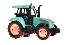 Children's Toy Small Green Toy Tractor Isolated On White Background