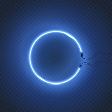 Circle Neon Lamp Wall Sign Isolated On Transparent Background. Vector Round Blue Glowing Bulb Banner.