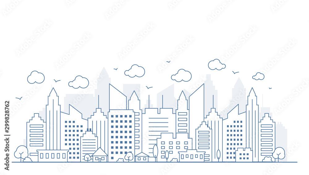 Panorama miasta w stylu cienkich linii. Ilustracja miastowa krajobrazowa ulica z samochodami, linii horyzontu miasta budynki biurowi na lekkim tle ,. Zarys gród. Ilustracji wektorowych