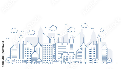 Thin line style city panorama. Illustration of urban landscape street with cars, skyline city office buildings, on light background. Outline cityscape. Vector illustration