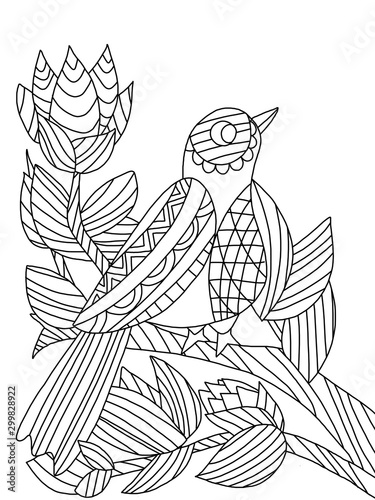 Carta da parati Songbird on branch with flower and leafs coloring page for adults and kids