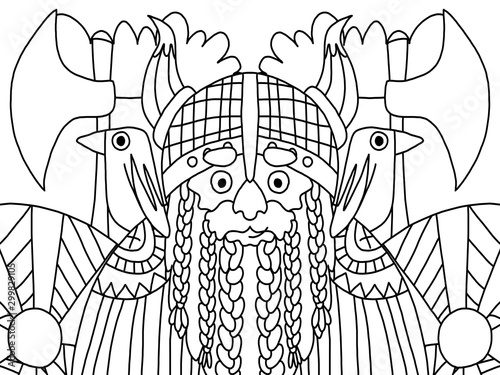 Viking warrior man coloring book page for adults and kids Wallpaper Mural