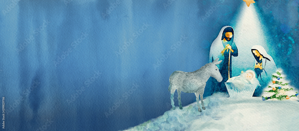 Fototapety, obrazy: Nativity scene. Merry Christmas watercolor background