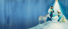 Nativity Scene. Merry Christmas Watercolor Background