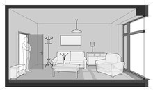 Room Furnished With Sofa And Chair And Table And Cabinets And Ceiling Lamp And Cloths Hanger And Painting On The Wall With Door And Tall French Window And Standing Man In The Opened Door