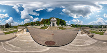 Full Spherical Seamless Hdri Panorama 360 Degrees In The Yard Of Lychakiv Cemetery In Equirectangular Projection With Zenith And Nadir, VR Content With Zenith