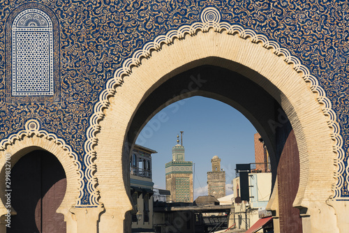 The blue gate in Fes, Morocco. Typical african and moroccan gate. World heritage.