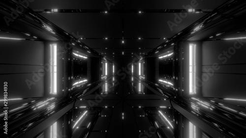 futuristic scifi space hangar tunnel corridor with glass bottom and windows 3d illustration wallpaper background design