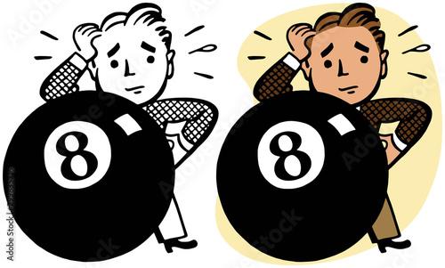 An unlucky man finds himself literally behind the eight ball. Canvas Print
