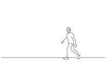 Man Walking Isolated Line Draw...