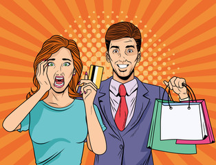 couple with shopping bags and credit card pop art style