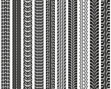 Black Prints Of Tread Of Cars, Seamless  Illustration