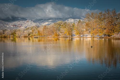 Quail Lake, Colorado Springs, Colorado. Photos taken on an early fall day after a snowstorm