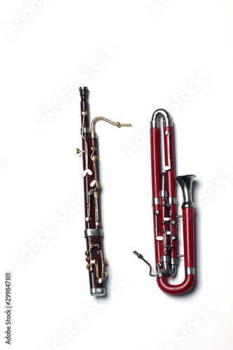bassoon and contra-bassoon isolated on white background Wallpaper Mural