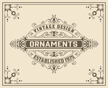 Vintage  Floral Ornamen Template Vector Illustration. Victorian Borders For Wedding Invitations,  Advertising, Greeting Cards Or Other Design.