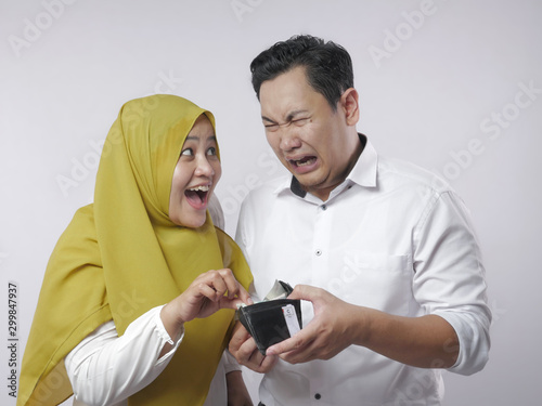 Photo Muslim Wife Ask Money to Her Husband