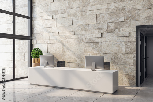 White office lobby with copyspace Canvas Print
